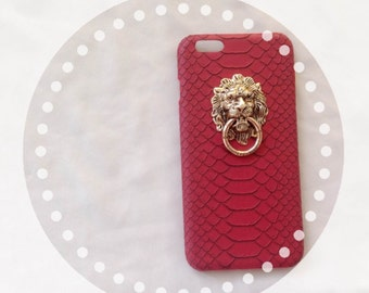 Iphone Case, Red cell phone case, Iphone 6/6 plus cover,  Lion Phone case