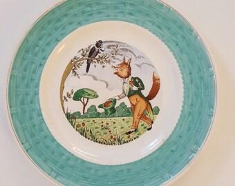 Plate vintage Mint 50s fable of La Fontaine