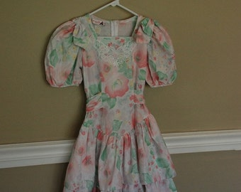 Vintage Mini Mouche Dress, Pastel Florals, Girl's Size 12