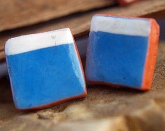 Earrings, studs geometric earrings minimal, earrings blue white