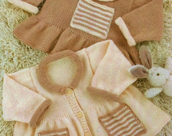 Premmie Baby-4 Year, Cardigan And Sweater, Knitting Pattern. PDF Instant Download.