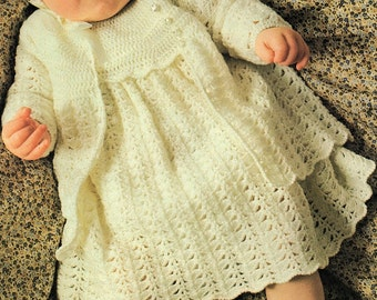 Baby Layette, Jacket, Dress, Bonnet And Bootees, Crochet Pattern. PDF Instant Download.