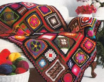 Afghan Motif Blanket, Crochet Pattern. PDF Instant Download.