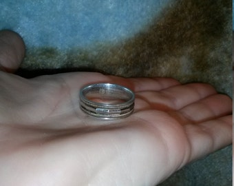 Vintage faceted sterling band sz 9