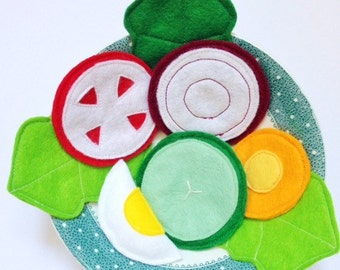 Felt Side Salad, Felt Play Food, Play Food Set, Pretend Play
