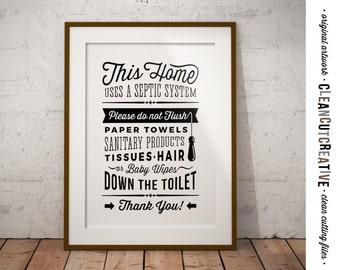 Bathroom Sign Septic System - Do Not Flush toilet sign - PDF JPG PNG jpeg - Printable Digital Artwork - retro/vintage sign- instant download
