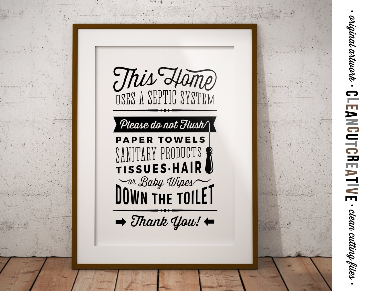 Bathroom sign for home - Bathroom Sign Septic System Do Not Flush Toilet Sign Pdf Jpg Png Jpeg Printable Digital Artwork Retro Vintage Sign Instant Download