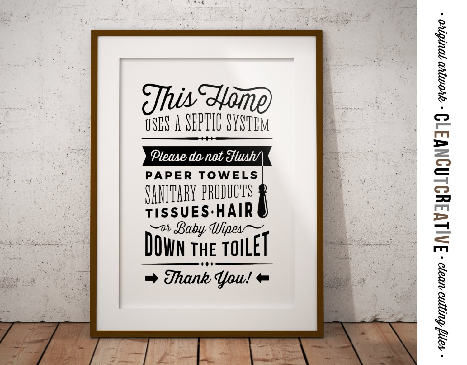 Printable bathroom sign - Bathroom Sign Septic System Do Not Flush Toilet Sign Pdf Jpg Png Jpeg Printable Digital Artwork Retro Vintage Sign Instant Download