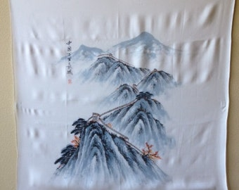 Great Wall of China on silk scarf