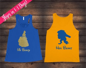 His Beauty Her Beast Tanks | Beauty and Beast Tanks | Disney Couple Shirts | Custom Disney Tanks | Matching Disney Shirts | His & Her Tanks
