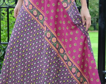 Rangini-Unique Skirt,Cotton-Printed,Long-Maxi,Spring-Summer,Everyday-Holiday,Purple-Pink,Bohemian,Border Design,Side Zip