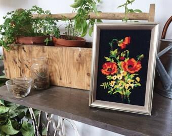 Vintage Cross-Stitch Framed flowers