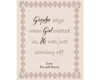 Grandparent Personalized Canvas, Grandmother Grandfather Present, When God Created Me He Was Just Showing Off, Personalized Christmas Gift