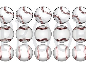 Digital Bottle Cap Image Sheet -  Baseball Softball - 1 Inch Digital Collage - Instant Download