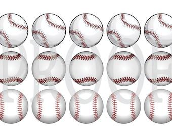 Digital Bottle Cap Image Sheet -  Baseball Softball - 1 Inch Digital Collage - Instant Download