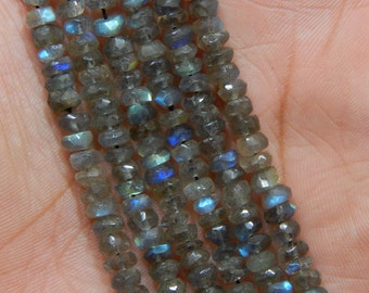 """13""""Inches Labradorite Blue Flash Faceted Beads Rondelle Shape 3x5 To 4x5  mm Approx"""