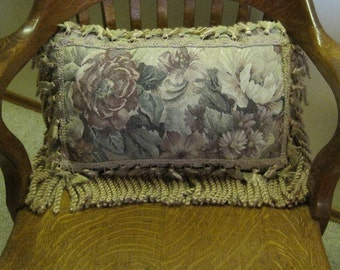 Pillow with Fringe, Pillow with Flowers, Throw Pillow, Tapestry Pillow