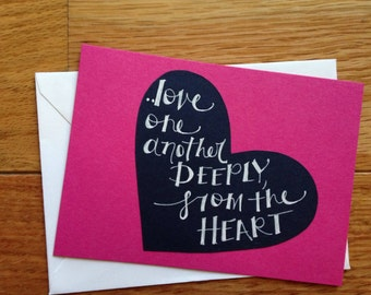 Valentine's Day Cards: hot pink, navy, and white