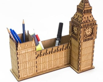 Miniature London Tower Big Ben - unfinished office desktop organizer - desk storage for crafts