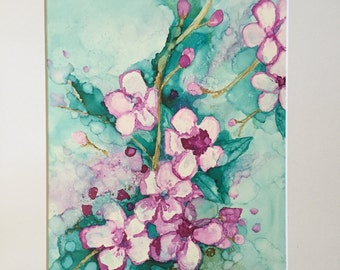 Cherry Blossom, Alcohol Ink 11x14 on Yupo Paper