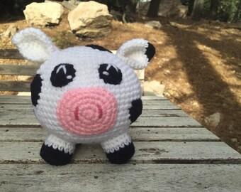 Crocheted cow plush