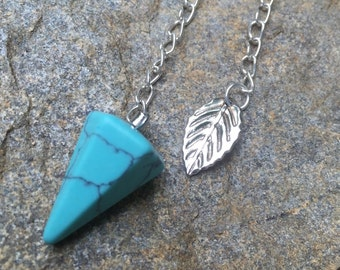 Mini Turquoise Pocket Pendulum with Leaf Anchor