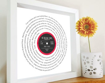Romantic gift - Framed Song lyrics with your choice of special song - Vinyl record design - Personalised Gift - Anniversary | Wedding Gift