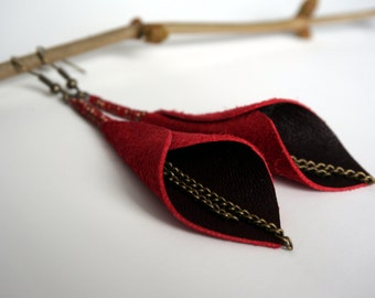 Rustic Red Lily Leather Earrings with Chain Dangle - Leaf Leather Earrings - Red Leather Earrings - Mother's Day Earrings - Recycled Leather
