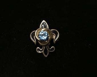 Vintage Brooch/Pendant, Goldtone, Blue Crystal