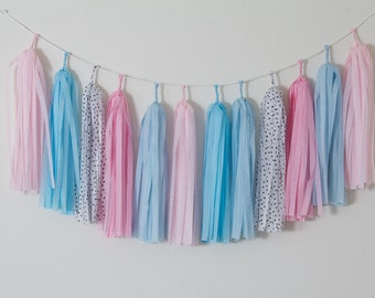 Cotton Candy Tassel Garland - Pink Blue Decoration - Gender Reveal Party - Baby Shower - Pink Blue Banner - Nursery Decor - Boy Girl Party