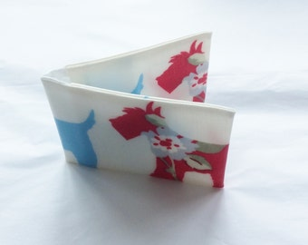 Oilcloth Oyster Card Holder/ Credit Card Holder/ Business Card Holder - Blue & Red Dogs With Floral Print