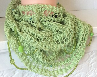 Beaded Scarf, Green Scarf, Infinity Scarf, Cotton scarf, Knit scarf, Summer scarf, Gift for GirlFriend, Women's Scarf, Gift for Her