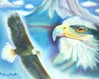 Pastel drawing, flying eagle, original artwork by Francesca Licchelli, Pastelmat paper, gift idea for him, boys bedroom decoration, freedom.