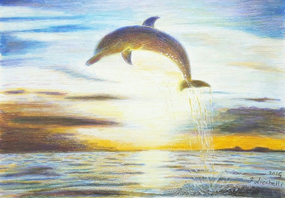 "Dolphin, Landscape, sea, OOAK - original drawing, colored pencils on paper - ""Dolphin"" - 30x21 cm./11,8x8,3 inc. Boy's bedroom,wall art."