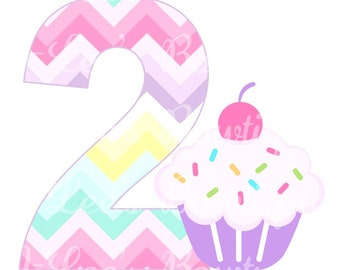 Pastel Cupcake Personalised Birthday Iron on Transfer Custom Made