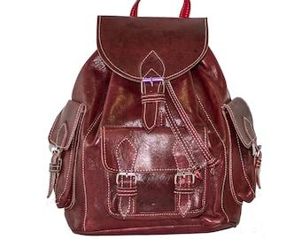 Vintage Style Burgundy Backpack