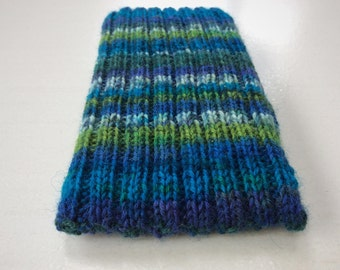 Knitted iPhone sock for 6 or 6S,  smartphone cover case, blue green wool