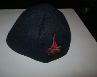 VINTAGE CAMPFIRE GIRLS Uniform Beanie / Cap / Hat * Blue Wool Cloth with Embroidered Logo / Insignia * Functional & Collectible Memorabilia!