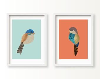 MR & MRS SPARROW Wall Prints | Bird Illustrations | Bird Wall Art | Bird Wall Decor | Baby Nursery Prints | Love Bird Wedding Illustrations