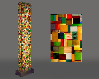 Glass art-light pillar 'Patchwork'