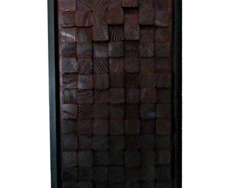 Modern Wooden Block - 3 Dimensional - Wall Art with Frame