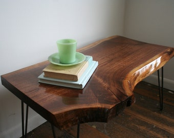 Black Walnut Coffee Table with Hair Pin Legs