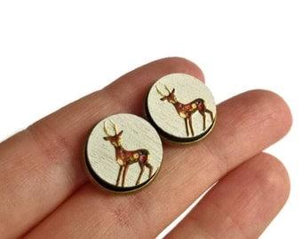 Deer stud earrings, wood stud earrings, deer earrings, deer jewelry, animal jewelry, wood jewelry, textured earrings, painted earrings, deer