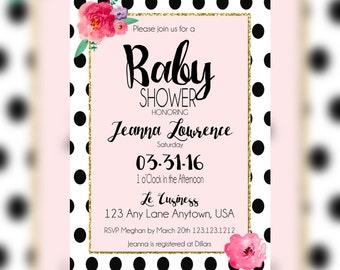 Glam Baby shower Invitations - Black and White Polka Dot - Chic Baby Shower Invitation- Glam and Elegant Baby shower invitations - PRINTABLE