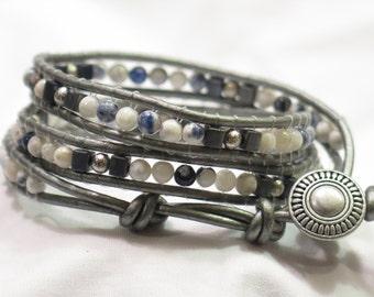 "Leather Wrap Bracelet Metallic Grey, Graphite and White 7"" - 3 Level Wrap Bracelet Made in Colorado"