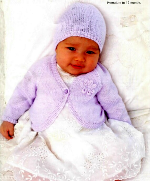 Knitting Pattern Baby Bolero Cardigan : Knitting pattern baby bolero cardigan jacket hat premature