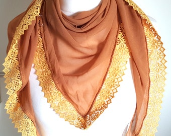 Brown ochre of lace stole shawl scarf