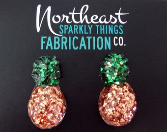 Pineapple Confetti Lucite Earrings