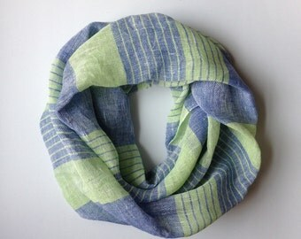 Handwoven Linen Infinity Scarf in Light Green and Blue colors
