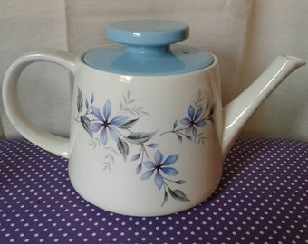 Blue Alpine RIDGWAY Teapot. Staffordshire,England. Blue and white teapot, vintage teapot, white mist, kitchenalia, great condition.
